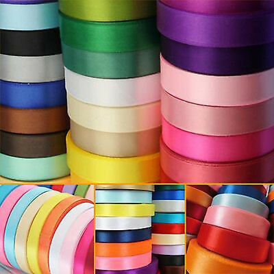 """22 Meters Reel Premium Quality 10mm 3/8"""" Width Single Faced Sided Satin Ribbons"""
