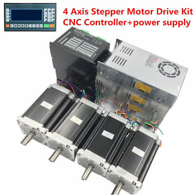 4 Axis 12Nm Nema34 Dual Shaft CNC Stepper Motor Drive+Power Supply+CNC Contoller