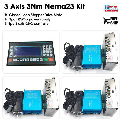 3Axis 3Nm Closed Loop Stepper Nema23 Motor DSP Drive&Power Supply&CNC Contoller