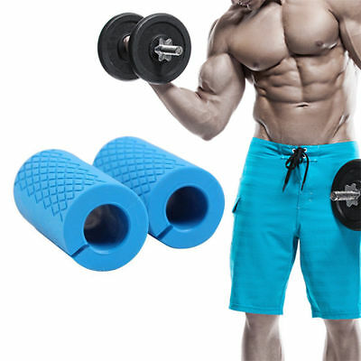 2PCS silicone Thick Bar Non-slip Barbell Dumbbell Rubber Grips For Muscle Growth