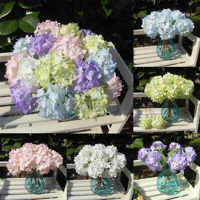 Ortensia falso artificiale fiore w/foglia Wedding Party Decor floreale Bouquet