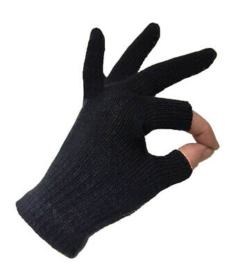 Ladies Womens Free 2 Touch Black Fingerless Touchscreen Practical Winter Gloves