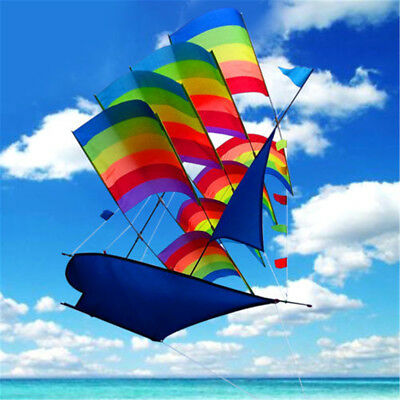 3D Rainbow Sailboat Flying Kite Outdoor Sports Toys Children Kids Game Activity