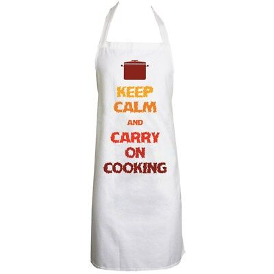 Keep Calm And Carry On Cooking White Apron