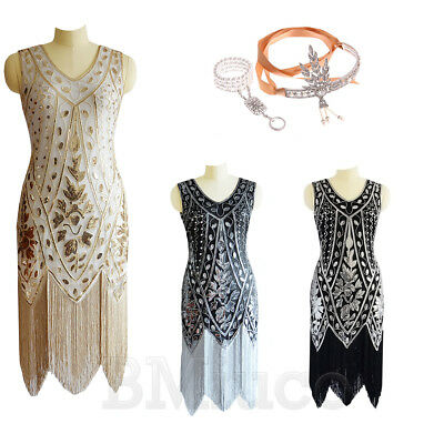 1920s Flapper Beaded Dress Gatsby Wedding Party Prom 20's Luxury Evening Dresses