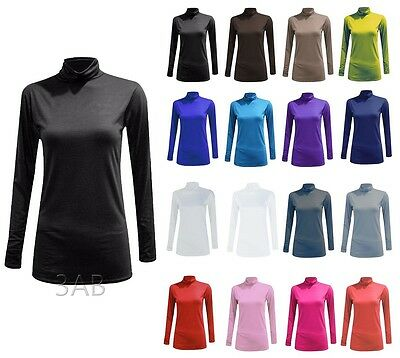 Womens Ladies Turtle Polo Neck Long Sleeve Jumper Top Plain Stretch Plus Size
