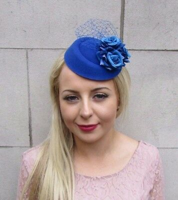 Royal Blue Rose Flower Pillbox Hat Fascinator Hair Clip Races Wedding Vtg 4037