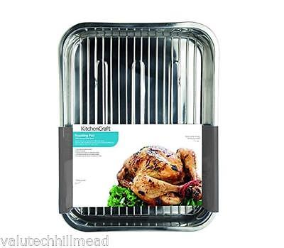 Kitchen Craft Roasting Pan with Rack, 43 cm - Stainless Steel 43 x 32 x 7 cm