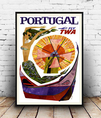 Portugal : Vintage Travel advertising, Wall art ,poster, Reproduction.