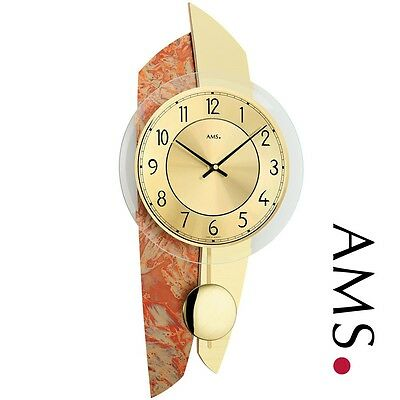 AMS 7407 Wall Clock Quartz with Pendulum Wooden Back Metal Brass OPTICS Watch
