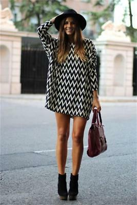 Women Casual Dress Crew Neck Long Sleeve Striped Loose T-Shirt Mini Dress B