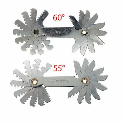 2 Pcs Stainless Steel Metric Screw Pitch 60+55 Degree Thread Measuring Gauge