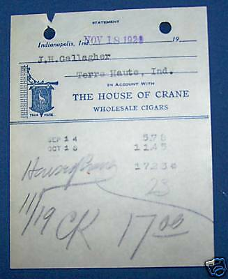 1929 Receipt-House Of Crane-Cigars-Indianpolis Indiana