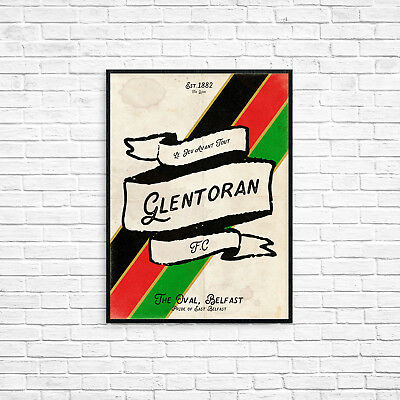 Glentoran Football Club A4 Picture Art Poster Retro Vintage Style Print Belfast