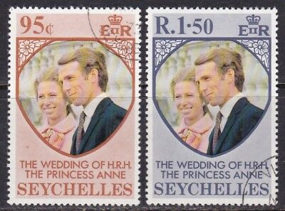 Seychelles #311-312 Used Princess Anne's Wedding Issue