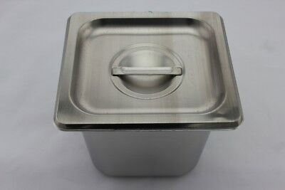 Stainless Steel Bain Marie Tray and Lid 1/6 Size (150mm depth)