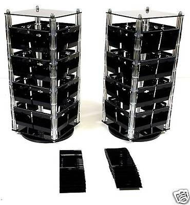 2 Acrylic Rotating Earring Stands Countertop Displays Revolving With 100 Cards