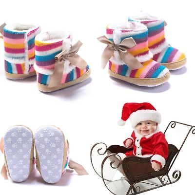 Newborn Rainbow Baby Warm Boots Winter Wool Shoes Bowknot Cotton Padded