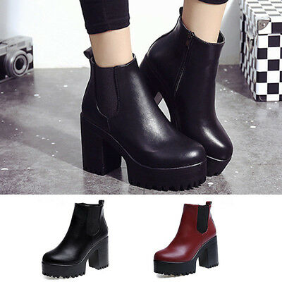 New Womens Ladies Chunky Block High Heel Shoes Platform Ankle Boots Shoes Winter