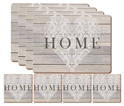 Set of 4 New Premium Home Heart Placemats & 4 Coasters - Wood Cork Wooden Effect