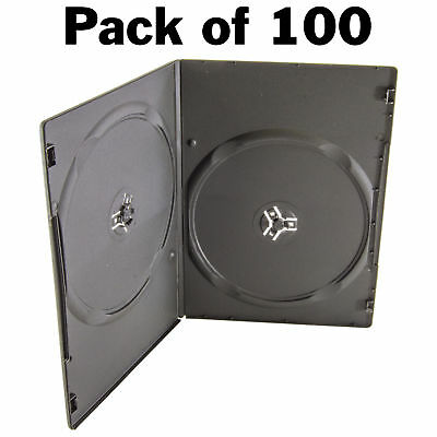 7MM SLIM Black Double DVD Cases (Pack of 100)