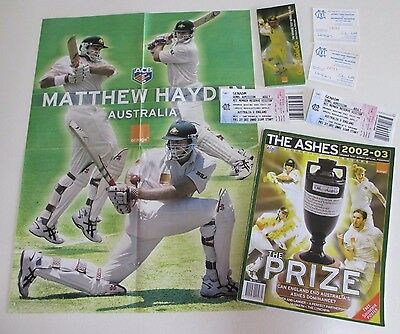 The Ashes 2002-03 - Aust. v England - Cricket Program, Tickets, Fixture & Poster