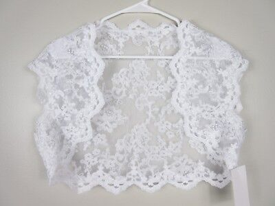 Tulip Bridal NWT Wedding Sleeveless White Lace Bolero Jacket Wrap Shrug Size XL