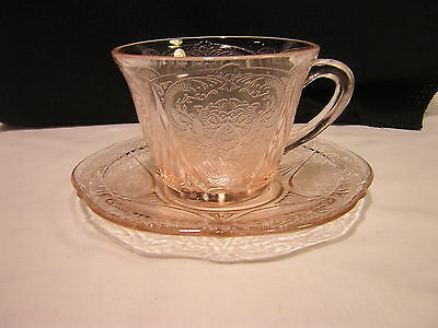 Hazel Atlas Glass ROYAL LACE Depression Pink Cup & Saucer