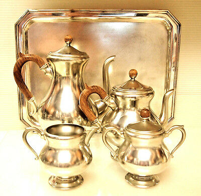 Royal Holland Pewter Coffee/tea Set/ Daalderop/ Kdm/ Made In Holland On S/p Tray