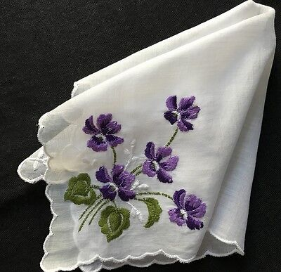 Made in Switzerland All Cotton Handkerchief Lovely Violets Embroidery NWT