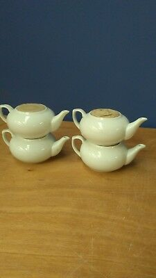 4 x One Cup White Teapot, Flat Top, Stackable Ideal for Cafes, B&B