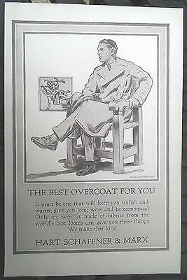 1923 Hart Schaffner and Marx men's overcoat vintage fashion print ad dashing man