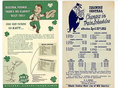 Lot of 2 1951 Train Schedule Advertisements (Illinois Central and MKT KATY Line)