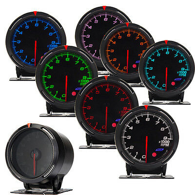 Car Universal RGB LED Light Vacuum Pressure Gauge Meter 0-9000RPM 60mm 2.36""