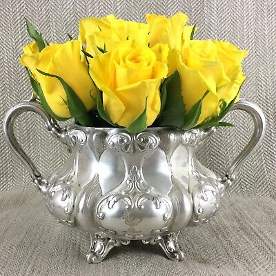Antique Silver Plated Bowl Twin Handled Ornate Armorial Family Crest Flower Pot