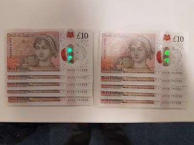 10 x CONSECUTIVE New £10 Ten Pound Note AH28 Serial Number (SOLD SEPARATELY)