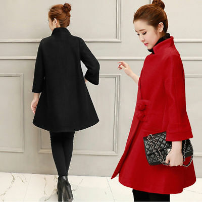 Empire Coat Peacoat Poncho Pregnancy Maternity Stand Collar 3/4 Sleeves M/L/XL
