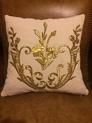 LOVELY PILLOW CASE WITH ANTIQUE OTTOMAN TURKISH GOLD METALLIC HAND EMBROIDERY n1
