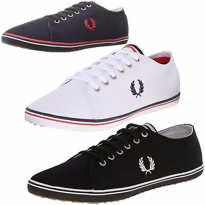 Fred Perry Men Casual Shoes Kingston Twill Fashion Sneakers Navy Blue White  NEW ff3d6b727f0