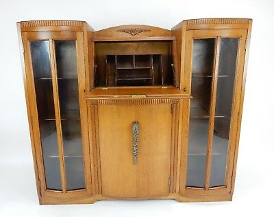 Beautiful Antique  English Art Deco Oak Side By Side Bookcase Drop Desk. 48""