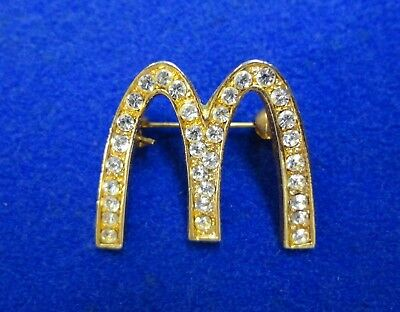 RARE ~ Old McDonalds Golden Arches Logo Encrusted with Faux Daimonds Brooch Pin