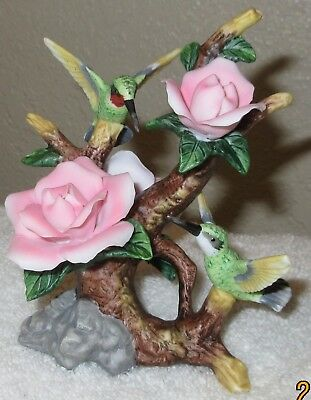 Pair Of Hummingbird On Pink Or Red Rose Flowers In Fine Porcelain--Cosmos Gifts