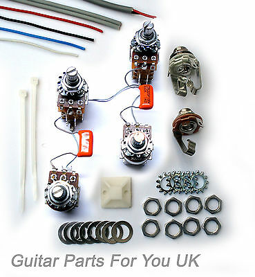 500k Les Paul FULL PUSH PULL Wiring Harness kit Sprague orange drop Jimi Page