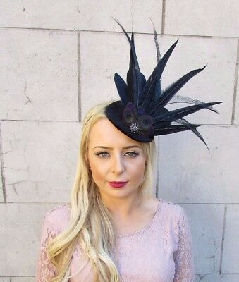Black Peacock Pheasant Feather Fascinator Pillbox Hat Races Vintage Hair 4052