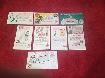 Vintage 50's Nos Texaco Marfax Service Reminder Post Card Sign's Very Rare Set