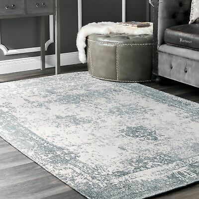 nuLOOM Vintage Faded Abstract Cotton Blend Area Rug in Light Blue, Off White