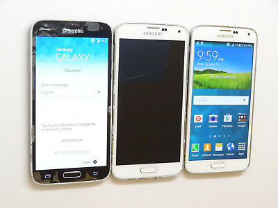 Lot of 3 Samsung Galaxy S5 16GB Smartphones 2 AT&T 1 T-Mobile AS-IS GSM **