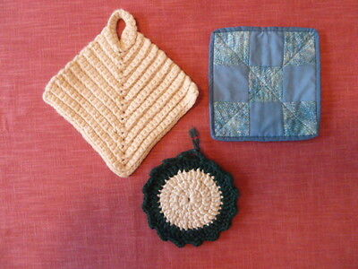 Handmade 3 new hot pads, trivets, pot holders, various shapes & sizes