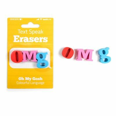 Omg Text Speak Novelty Erasers - Fun Rubbers Office Desk School Stationary Gift