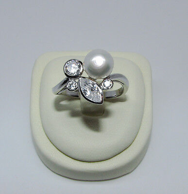 Sterling Silver Pearl Ring Size 6 7